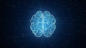 Анимация мозга искусственного интеллекта, большой анализ потока информации, глубокие уча современные концепции технологий иллюстрация вектора