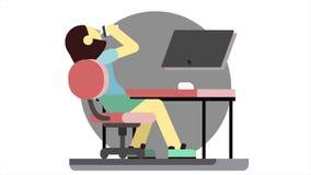Анимация мультфильма сердитой женщины сидя на компьютере, хлопает кулаку на таблице и кофе напитков Усиленная девушка менеджера бесплатная иллюстрация