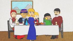 Анимация мультфильма с людьми различных национальностей и вероисповеданий имея обедающий совместно, концепция допуска иллюстрация вектора