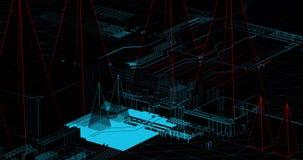 Анимация научной фантастики линий провода делая башни и картины связи видеоматериал