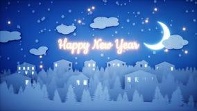 Анимация Нового Года бумажная плоская Счастливая предпосылка Нового Года и xmas снежности Реалистическая анимация 4K иллюстрация вектора