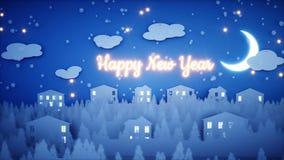 Анимация Нового Года бумажная плоская Счастливая предпосылка Нового Года и xmas снежности Реалистическая анимация 4K иллюстрация штока