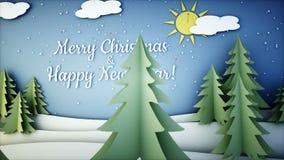 Анимация Нового Года бумажная плоская Счастливая предпосылка Нового Года и xmas снежности Реалистическая анимация 4K бесплатная иллюстрация