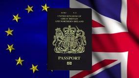Анимация паспорта Великобритании показывая исчезая текст Eu