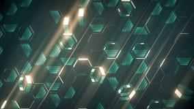 Анимация петли сияющих зеленых покрашенных шестиугольников на темной предпосылке E иллюстрация штока