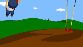 Анимация петли мальчика на качании видеоматериал