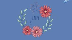 Анимация поздравительой открытки ко дню рождения с цветками и бабочкой сток-видео