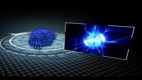 Анимация показывая различные медицинские зажимы приходя от revovlving мозга иллюстрация штока