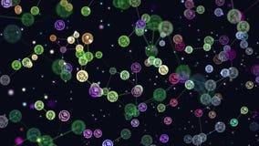 Анимация потребителей конспекта сети, интернет-сообщество цифров графическая видео-, знамена летая, значки телеграммы Концепция иллюстрация штока