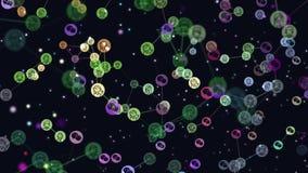 Анимация потребителей конспекта сети, интернет-сообщество цифров графическая видео-, знамена летая, значки WeChat Концепция  иллюстрация штока