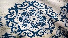 Анимация развевая ткани, структуры ткани с картиной Текстура ткани, предпосылка ткани шток Крупный план ткани Стоковое фото RF