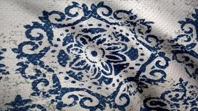 Анимация развевая ткани, структуры ткани с картиной Текстура ткани, предпосылка ткани шток Крупный план ткани Стоковые Фото