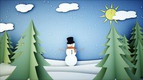 Анимация снеговика бумажная плоская Счастливая предпосылка Нового Года и xmas снежности Реалистическая анимация 4K иллюстрация штока