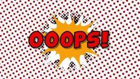 Анимация стиля воздушных шаров речи слова OOOPS- шуточная иллюстрация штока