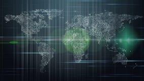 Анимация с картой мира и света в движении, петле HD 1080p