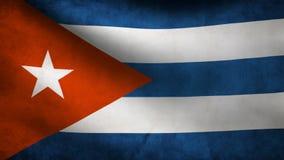 Анимация флага Кубы на ветре иллюстрация вектора