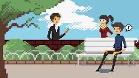 Анимация характеров ретро игры искусства пиксела модная датировка и встречи различных людей идя для деятельности в парке и иллюстрация вектора
