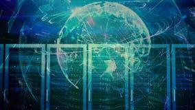 Анимация цифровых серверов против глобуса на заднем плане иллюстрация вектора