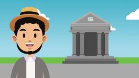 Анимация человека и банка HD иллюстрация штока