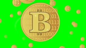 Анимация Bitcoin, золотой символ монетки cryptocurrency, пламенистые многоточия вокруг монетки, летая другие монетки на предпосыл бесплатная иллюстрация