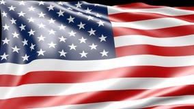 анимация 3d американского flagg, двигая в ветер сток-видео
