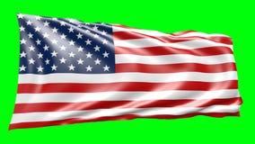 анимация 3d американского flagg, двигая в ветер акции видеоматериалы