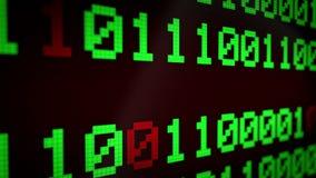 анимация 3d: Закрепленная петлей оживленная предпосылка с идущими линиями с бинарным кодом и цветом мерцающего ` ВИРУСА ` текста