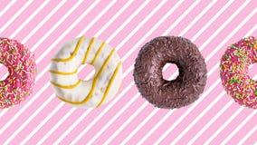 Анимация Donuts красочная на предпосылке пинка белой striped акции видеоматериалы