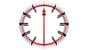 Анимация timelapse циферблата с длинными стрелками перевод 3d иллюстрация штока