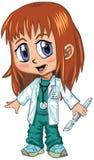 Аниме или доктор Девушка стиля Manga красный с волосами Стоковая Фотография RF