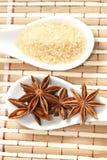 Анисовка и тростниковый сахар звезды стоковая фотография rf