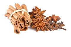 Анисовка, cinammon и гвоздика изолированные на белизне Стоковые Фото