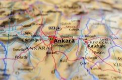 Анкара на карте Стоковое фото RF