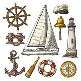 Анкер, колесо, парусное судно, лимб картушки компаса, spyglass, гравировка маяка иллюстрация штока