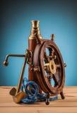 Анкер морского приключения старый и старый телескоп Стоковая Фотография RF