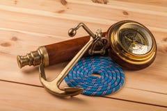 Анкер морского приключения старый и старый телескоп Стоковое Фото