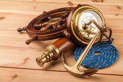 Анкер морского приключения старый и старый телескоп Стоковые Фото