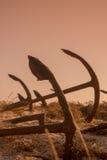 АНКЕР ПЛЯЖА ЕВРОПЫ ПОРТУГАЛИИ АЛГАРВЕ TAVIRA BARRIL Стоковая Фотография RF