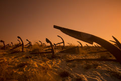 АНКЕР ПЛЯЖА ЕВРОПЫ ПОРТУГАЛИИ АЛГАРВЕ TAVIRA BARRIL Стоковая Фотография