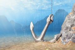 анкер подводный стоковая фотография