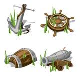 Анкер, рулевое колесо, оружие, и деревянный бочонок иллюстрация штока