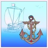 Анкер с веревочкой Ветрила парусного судна на море Морской элемент Стилизованный корабль Стоковое Изображение