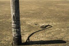 Анкер шлюпки на середине песка пляжа и старой веревочки Стоковые Фотографии RF