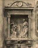 Аннунциация 1880-1930 Cavalcanti фото Vingate работа Donatello в камне позолоченном и отчасти polychrome Стоковое Изображение RF