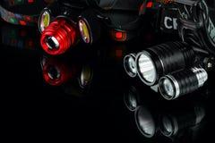 Анодированный алюминиевый водоустойчивый тактический headlamp электрофонаря Стоковое фото RF
