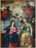 Антверпен - аннунциация. Краска Hendrick Van Balen от года 1615 в церков St. Pauls (Paulskerk) Стоковая Фотография RF