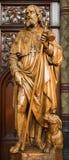 Антверпен - высекаенная статуя апостола Джейкоба от Joriskerk или церков St. George Стоковые Фото