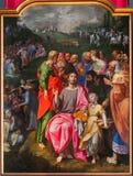 Антверпен - краска подавать множество в соборе нашей дамы стоковое фото