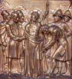 Антверпен - одежды Иисуса приняты прочь. Metal сброс как часть перекрестного цикла пути от Joriskerk или churc St. George Стоковая Фотография RF