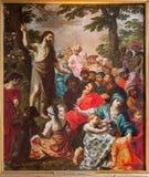Антверпен - проповедь святого Иоанн Крестителя Van Balen H. de Oude (1560-1632) в соборе нашей дамы Стоковое Фото